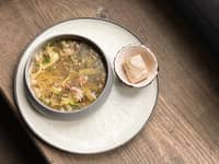 <p>Thick soup with stewed meat and bone marrow</p>